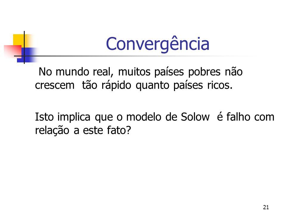 21 Convergência No mundo real, muitos países pobres não crescem tão rápido quanto países ricos. Isto implica que o modelo de Solow é falho com relação