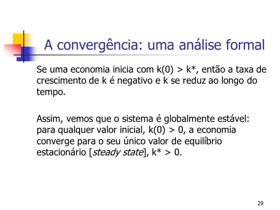 29 A convergência: uma análise formal Se uma economia inicia com k(0) > k*, então a taxa de crescimento de k é negativo e k se reduz ao longo do tempo