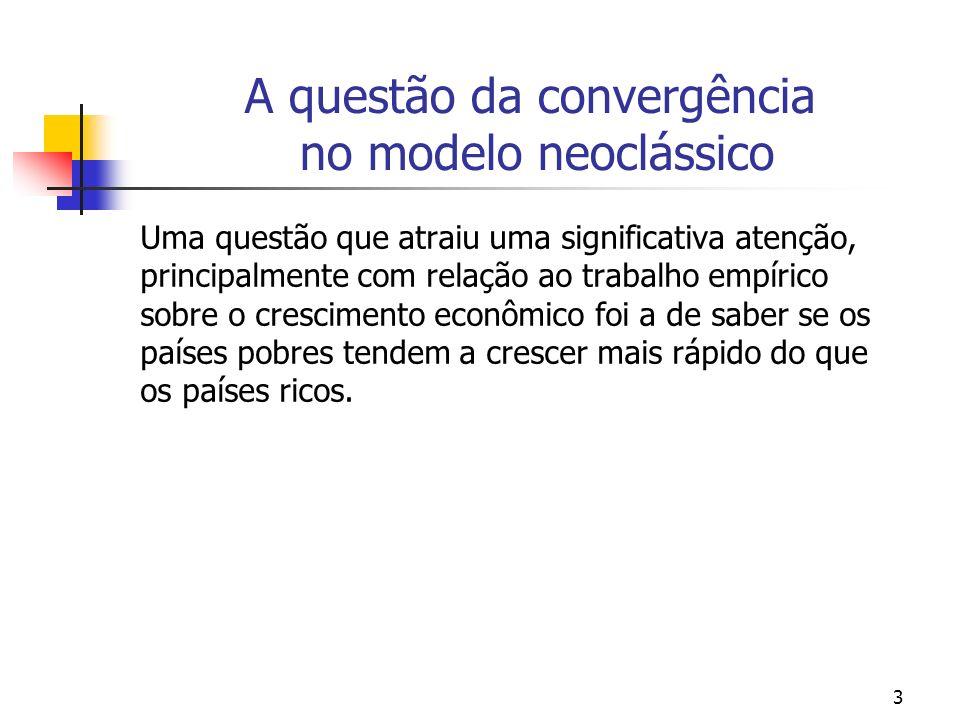 4 A questão da convergência no modelo neoclássico Questão: Por que é esperada existir uma convergência das rendas per capita no longo prazo segundo o modelo neoclássico de crescimento econômico?