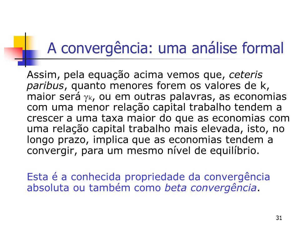 31 A convergência: uma análise formal Assim, pela equação acima vemos que, ceteris paribus, quanto menores forem os valores de k, maior será k, ou em