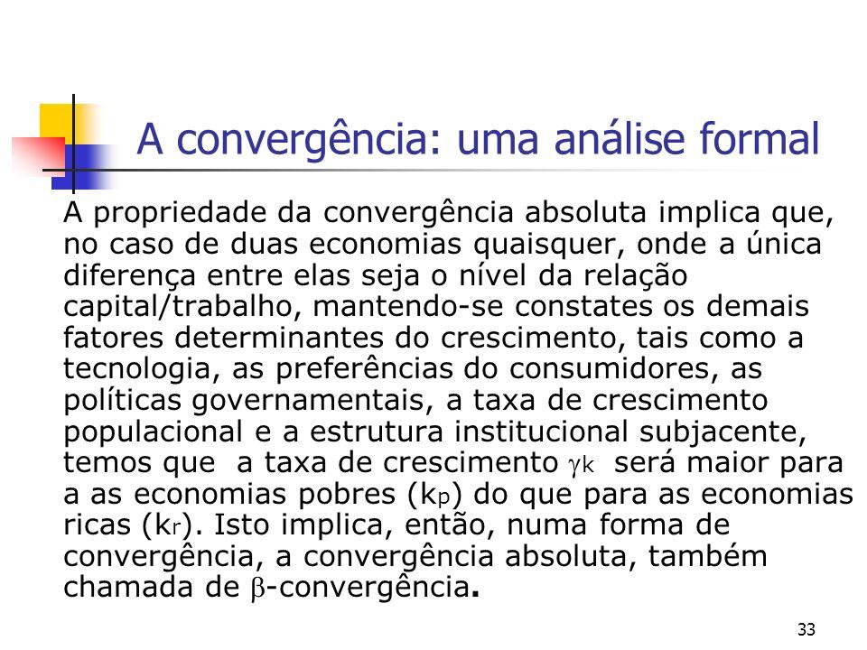 33 A convergência: uma análise formal A propriedade da convergência absoluta implica que, no caso de duas economias quaisquer, onde a única diferença