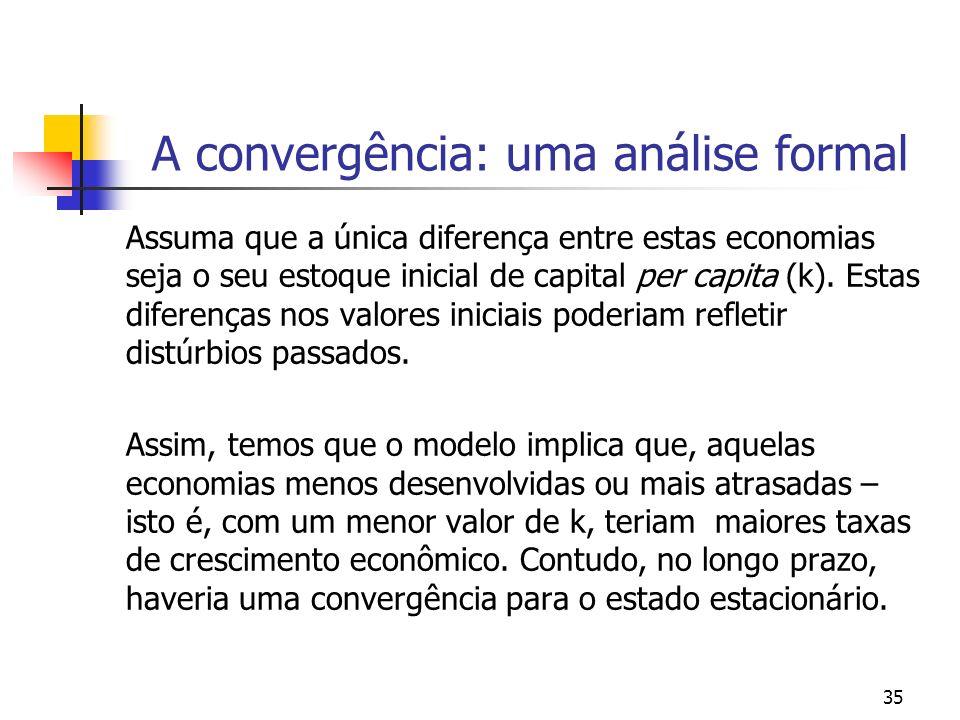 35 A convergência: uma análise formal Assuma que a única diferença entre estas economias seja o seu estoque inicial de capital per capita (k). Estas d