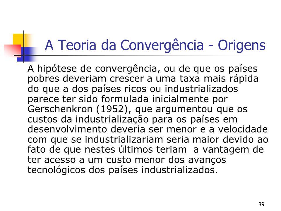 39 A Teoria da Convergência - Origens A hipótese de convergência, ou de que os países pobres deveriam crescer a uma taxa mais rápida do que a dos país
