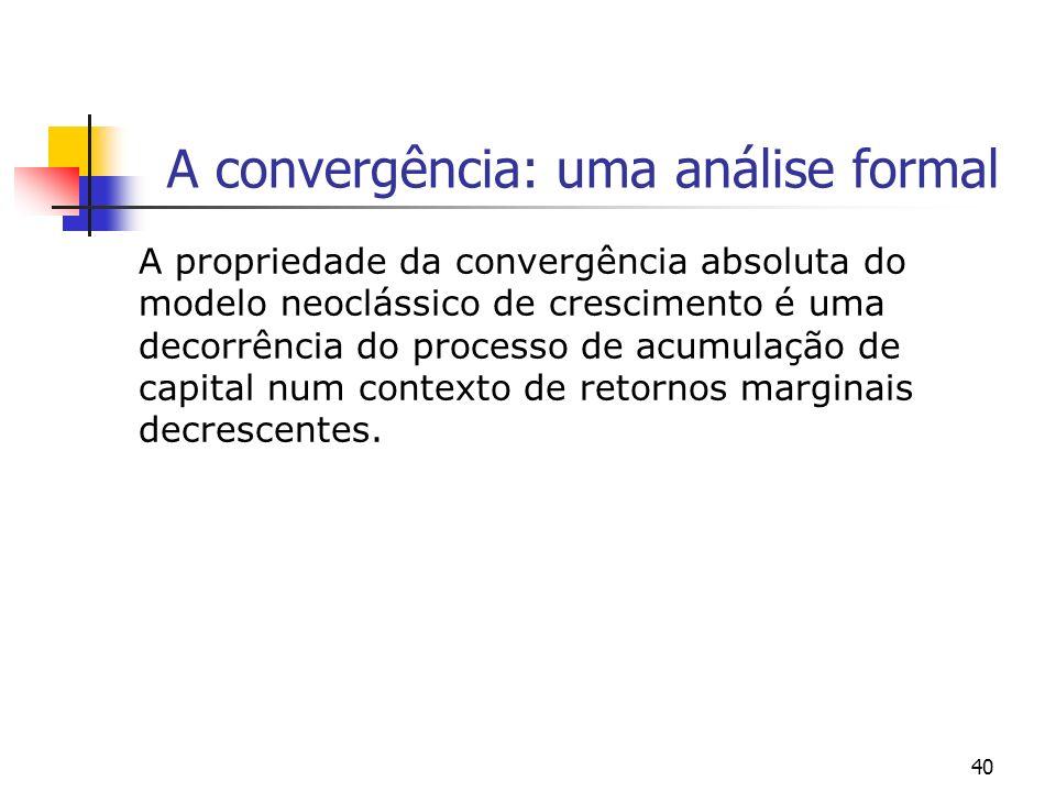 40 A convergência: uma análise formal A propriedade da convergência absoluta do modelo neoclássico de crescimento é uma decorrência do processo de acu