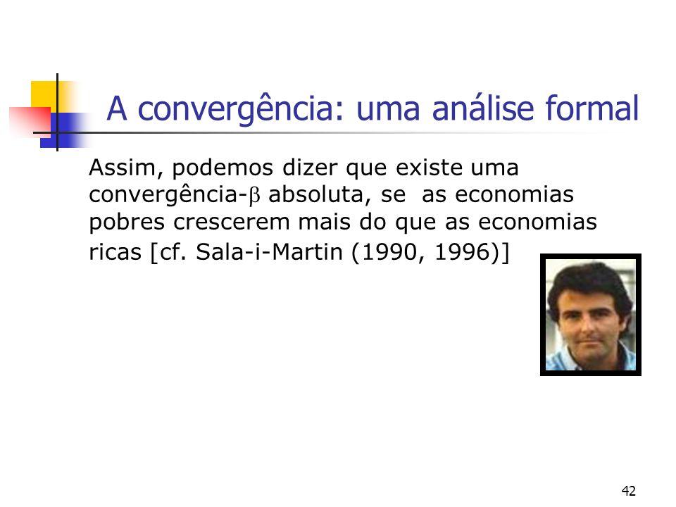 42 A convergência: uma análise formal Assim, podemos dizer que existe uma convergência- absoluta, se as economias pobres crescerem mais do que as econ