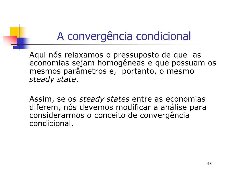 45 A convergência condicional Aqui nós relaxamos o pressuposto de que as economias sejam homogêneas e que possuam os mesmos parâmetros e, portanto, o