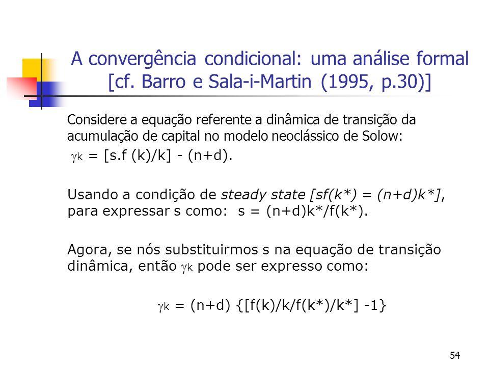 54 A convergência condicional: uma análise formal [cf. Barro e Sala-i-Martin (1995, p.30)] Considere a equação referente a dinâmica de transição da ac