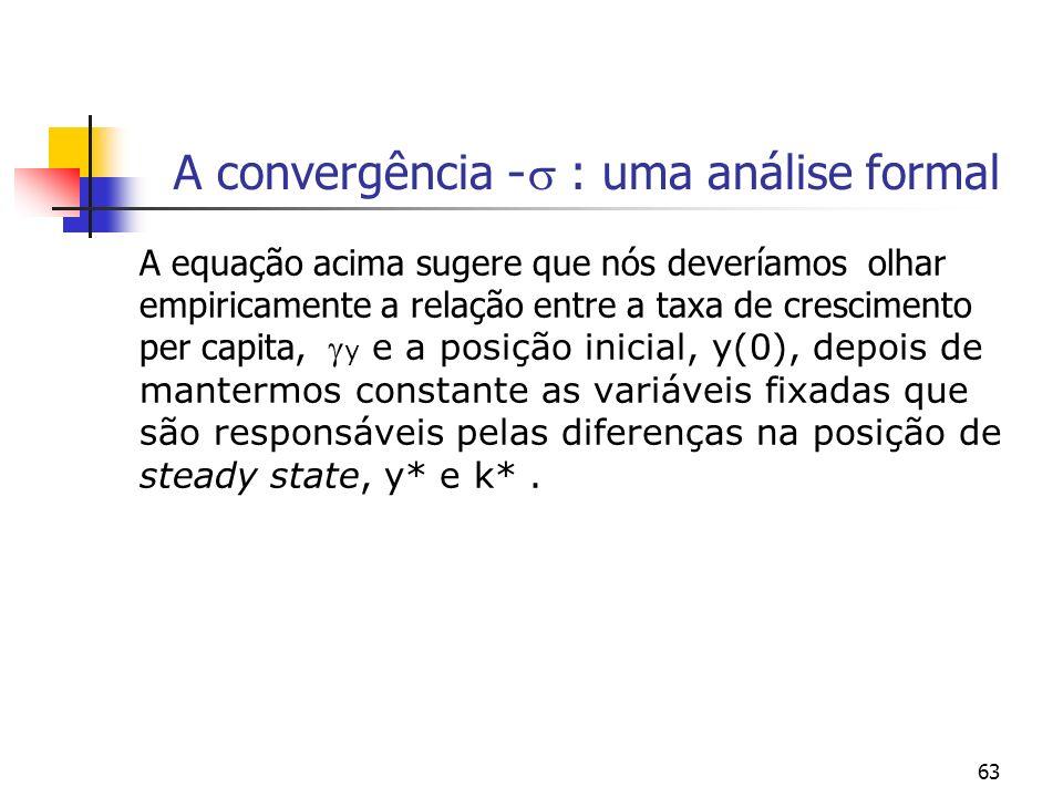 63 A convergência - : uma análise formal A equação acima sugere que nós deveríamos olhar empiricamente a relação entre a taxa de crescimento per capit