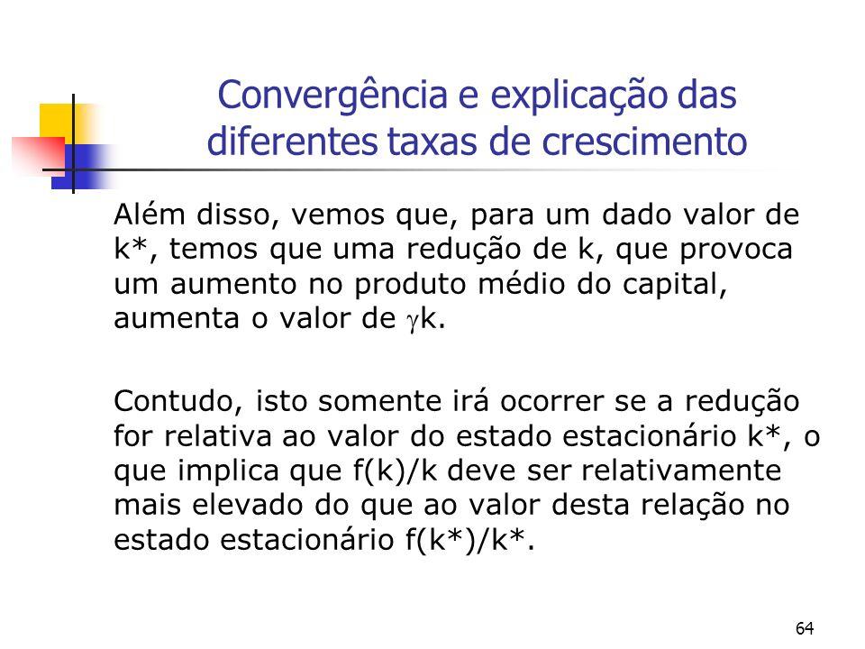 64 Convergência e explicação das diferentes taxas de crescimento Além disso, vemos que, para um dado valor de k*, temos que uma redução de k, que prov