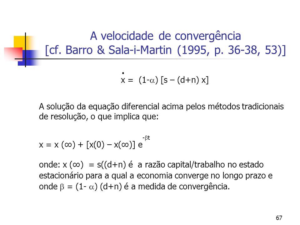 67 A velocidade de convergência [cf. Barro & Sala-i-Martin (1995, p. 36-38, 53)] x = (1- ) [s – (d+n) x] A solução da equação diferencial acima pelos