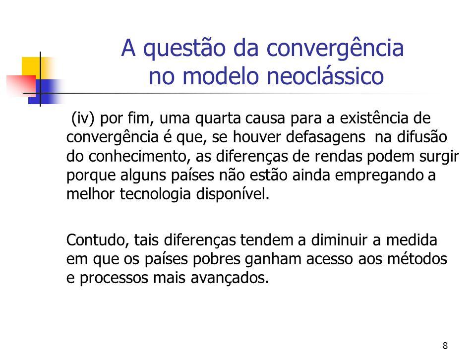 19 Convergência A idéia básica por traz do modelo de convergência da renda per capita entre os países é que os paises com uma baixa renda per capita no ínicio de um determinado período tenderiam a crescer mais rápido que países ricos.