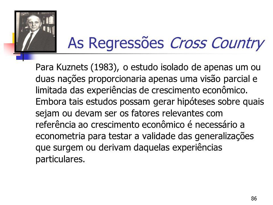 86 As Regressões Cross Country Para Kuznets (1983), o estudo isolado de apenas um ou duas nações proporcionaria apenas uma visão parcial e limitada da