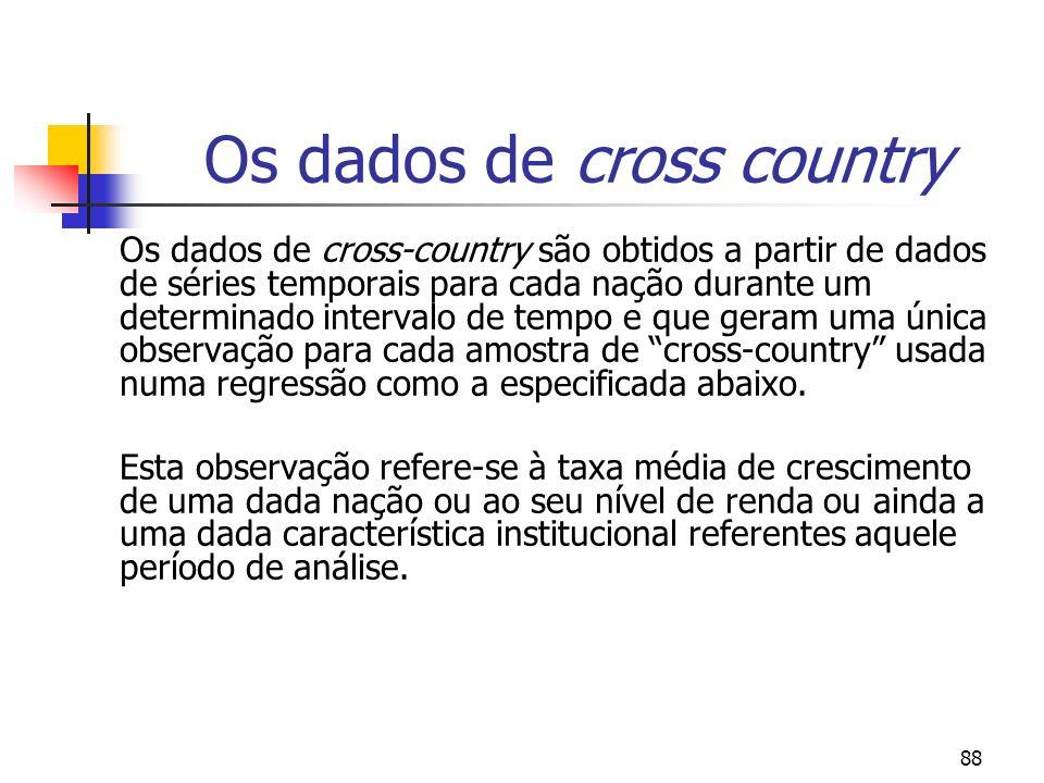 88 Os dados de cross country Os dados de cross-country são obtidos a partir de dados de séries temporais para cada nação durante um determinado interv