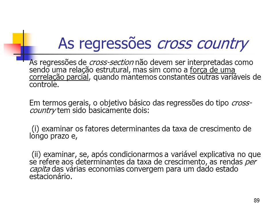 89 As regressões cross country As regressões de cross-section não devem ser interpretadas como sendo uma relação estrutural, mas sim como a força de u