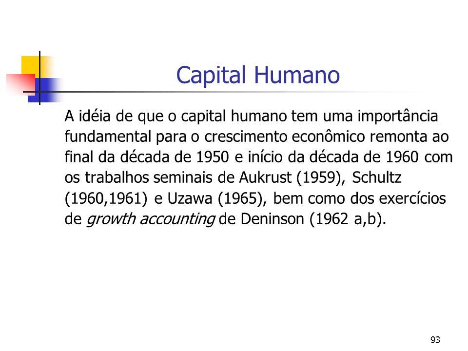 93 Capital Humano A idéia de que o capital humano tem uma importância fundamental para o crescimento econômico remonta ao final da década de 1950 e in