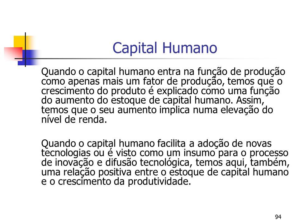 94 Capital Humano Quando o capital humano entra na função de produção como apenas mais um fator de produção, temos que o crescimento do produto é expl