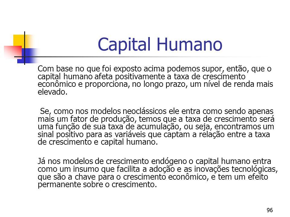 96 Capital Humano Com base no que foi exposto acima podemos supor, então, que o capital humano afeta positivamente a taxa de crescimento econômico e p