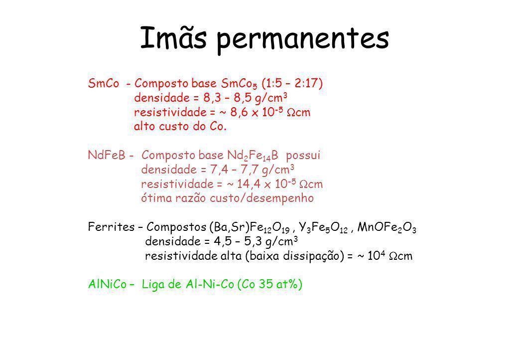 Imãs permanentes SmCo - Composto base SmCo 5 (1:5 – 2:17) densidade = 8,3 – 8,5 g/cm 3 resistividade = ~ 8,6 x 10 -5 cm alto custo do Co. NdFeB - Comp