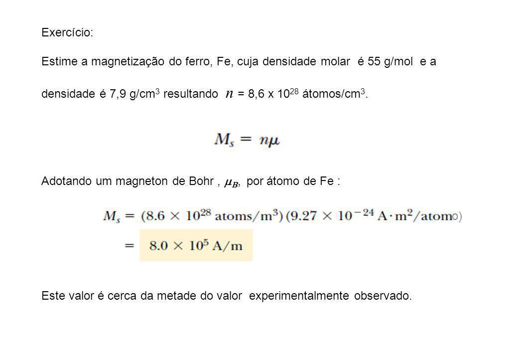 Exercício: Estime a magnetização do ferro, Fe, cuja densidade molar é 55 g/mol e a densidade é 7,9 g/cm 3 resultando n = 8,6 x 10 28 átomos/cm 3. Adot