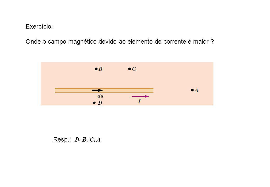 Exercício: Onde o campo magnético devido ao elemento de corrente é maior ? D Resp.: D, B, C, A