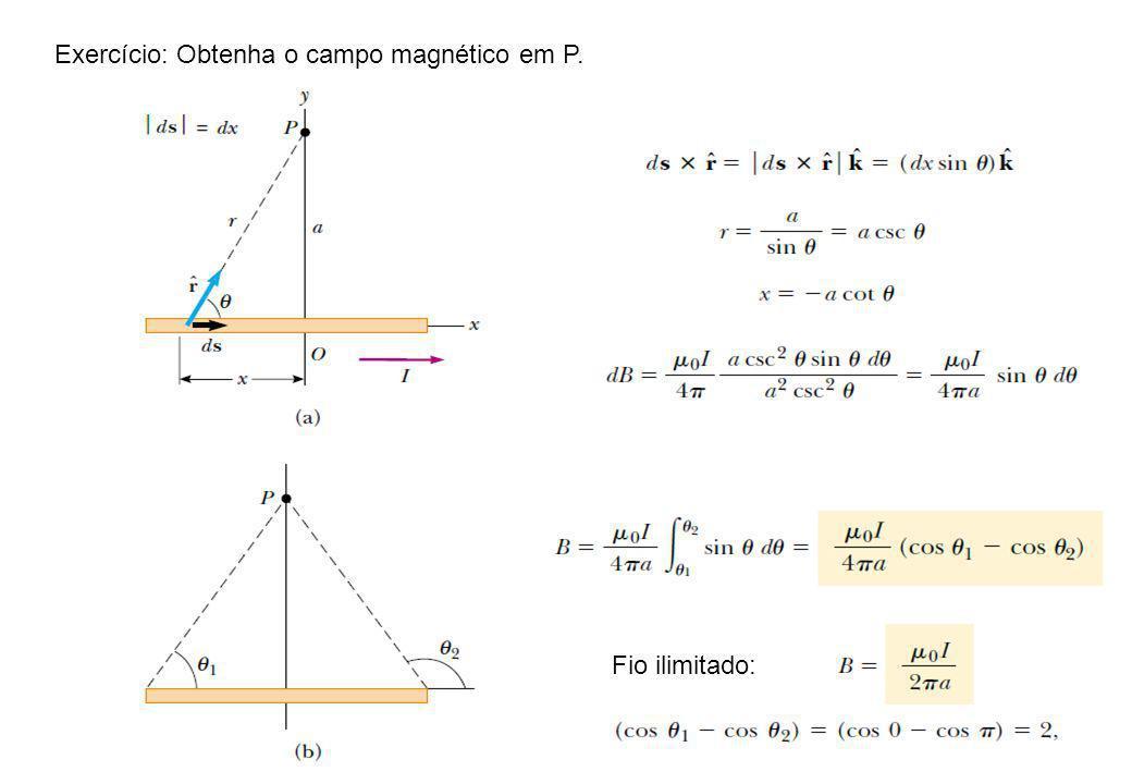 Exercício: Obtenha o campo magnético em P. Fio ilimitado: