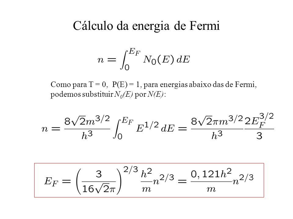 Cálculo da energia de Fermi Como para T = 0, P(E) = 1, para energias abaixo das de Fermi, podemos substituir N 0 (E) por N(E):