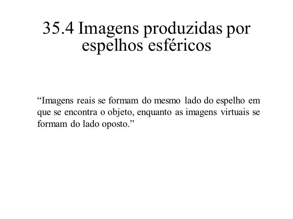 35.4 Imagens produzidas por espelhos esféricos Imagens reais se formam do mesmo lado do espelho em que se encontra o objeto, enquanto as imagens virtu