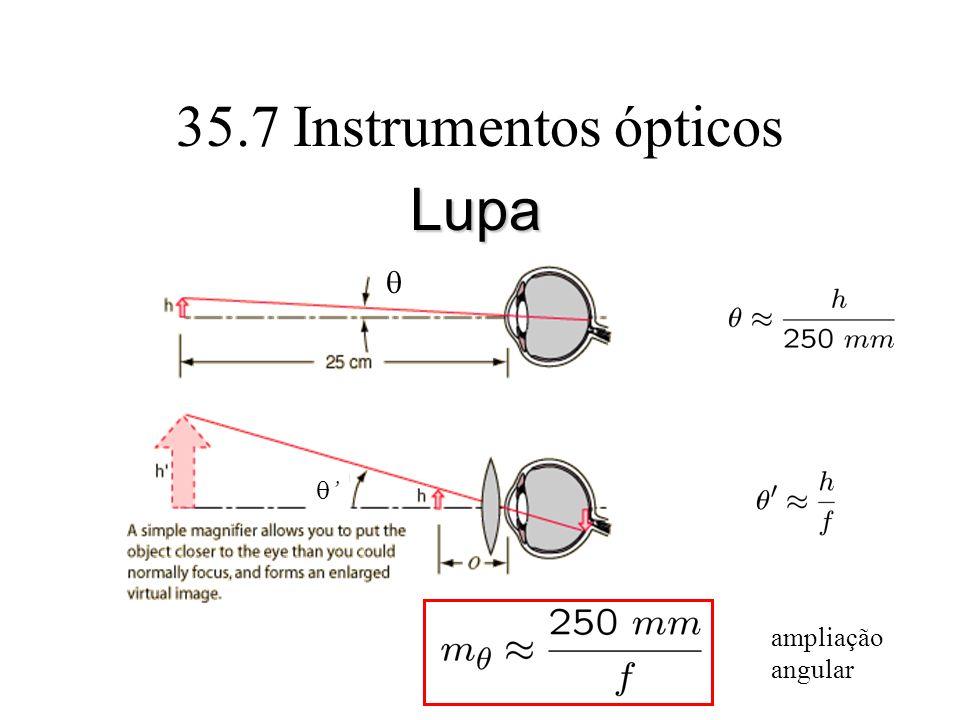 35.7 Instrumentos ópticos Lupa ampliação angular