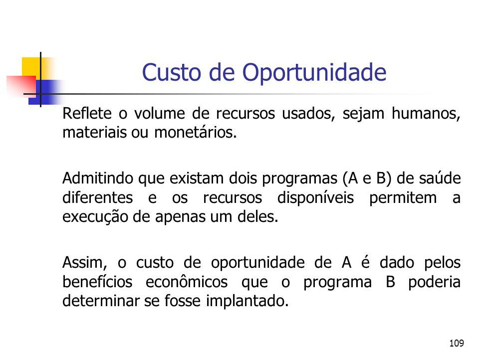 109 Reflete o volume de recursos usados, sejam humanos, materiais ou monetários. Admitindo que existam dois programas (A e B) de saúde diferentes e os