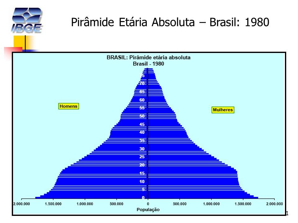 11 Pirâmide Etária Absoluta – Brasil: 1980