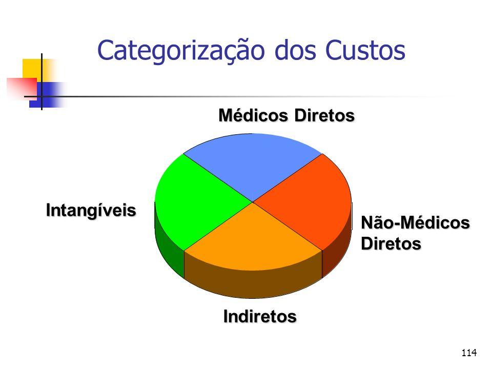 114 Categorização dos Custos Não-MédicosDiretos Indiretos Intangíveis Médicos Diretos