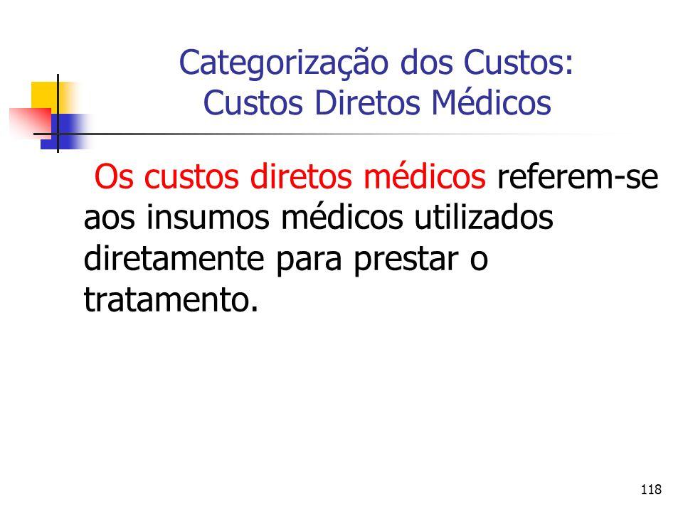 118 Categorização dos Custos: Custos Diretos Médicos Os custos diretos médicos referem-se aos insumos médicos utilizados diretamente para prestar o tr