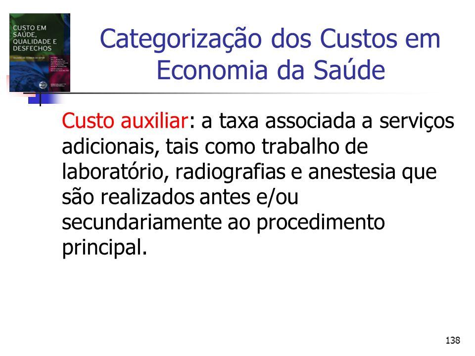 138 Categorização dos Custos em Economia da Saúde Custo auxiliar: a taxa associada a serviços adicionais, tais como trabalho de laboratório, radiograf