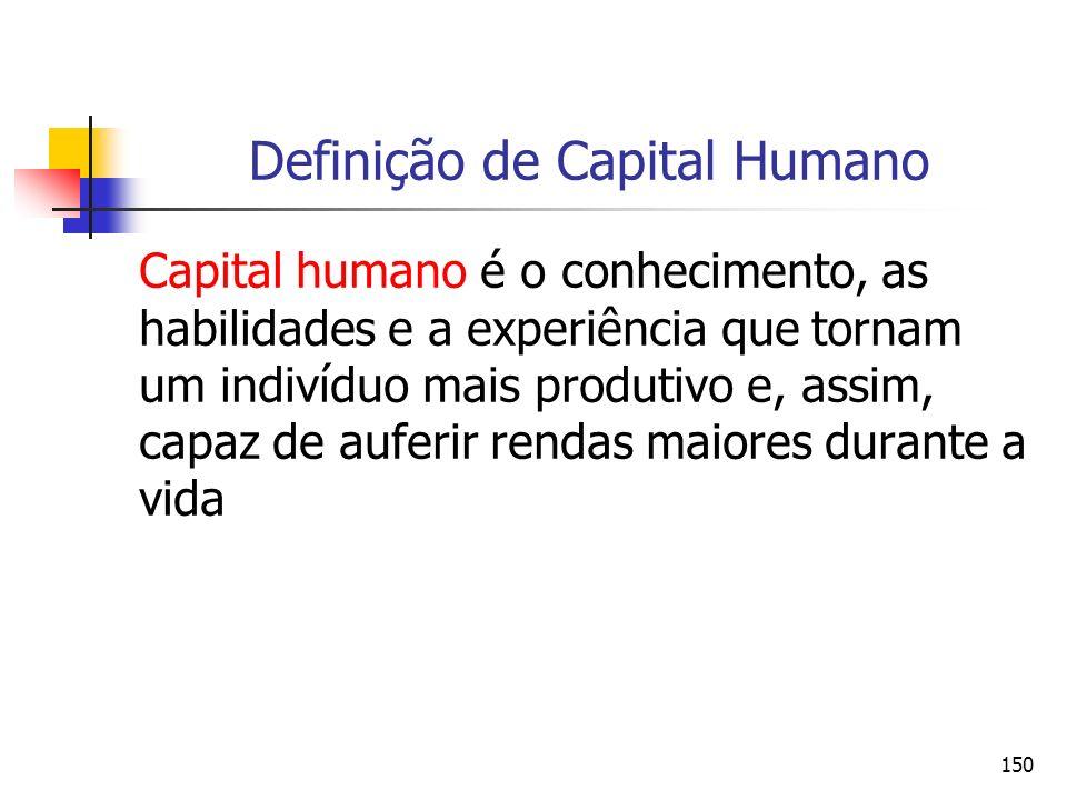 150 Definição de Capital Humano Capital humano é o conhecimento, as habilidades e a experiência que tornam um indivíduo mais produtivo e, assim, capaz