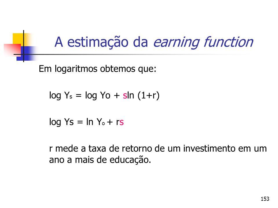 153 A estimação da earning function Em logaritmos obtemos que: log Y s = log Yo + sln (1+r) log Ys = ln Y o + rs r mede a taxa de retorno de um invest