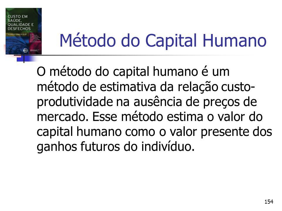 154 Método do Capital Humano O método do capital humano é um método de estimativa da relação custo- produtividade na ausência de preços de mercado. Es