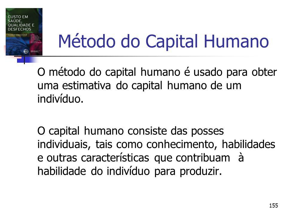 155 Método do Capital Humano O método do capital humano é usado para obter uma estimativa do capital humano de um indivíduo. O capital humano consiste