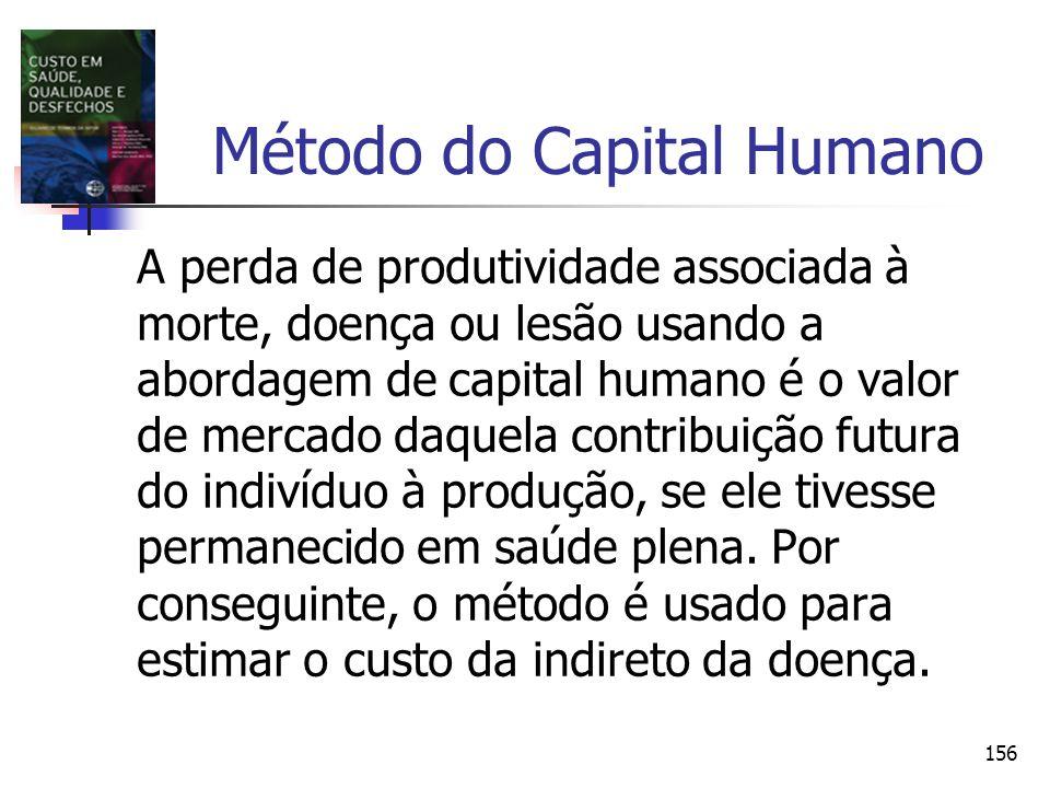 156 Método do Capital Humano A perda de produtividade associada à morte, doença ou lesão usando a abordagem de capital humano é o valor de mercado daq