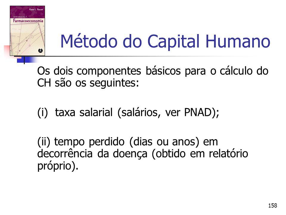 158 Método do Capital Humano Os dois componentes básicos para o cálculo do CH são os seguintes: (i) taxa salarial (salários, ver PNAD); (ii) tempo per