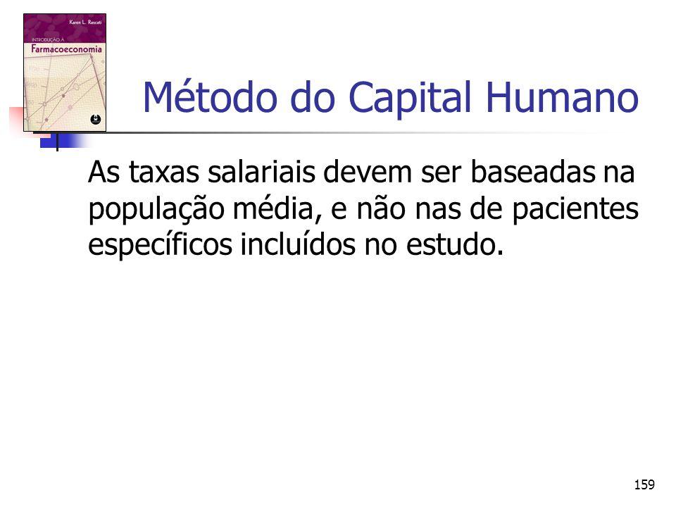 159 Método do Capital Humano As taxas salariais devem ser baseadas na população média, e não nas de pacientes específicos incluídos no estudo.