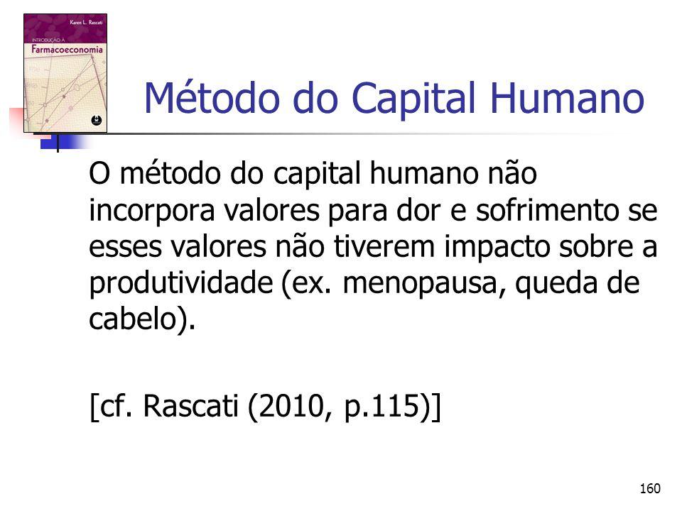 160 Método do Capital Humano O método do capital humano não incorpora valores para dor e sofrimento se esses valores não tiverem impacto sobre a produ