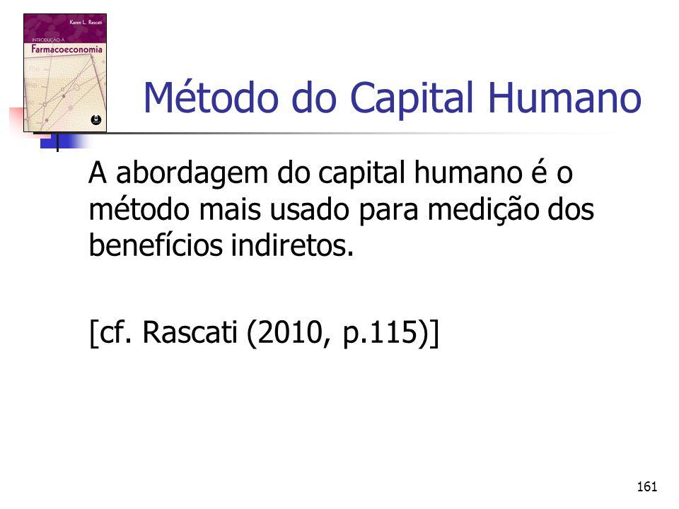 161 Método do Capital Humano A abordagem do capital humano é o método mais usado para medição dos benefícios indiretos. [cf. Rascati (2010, p.115)]
