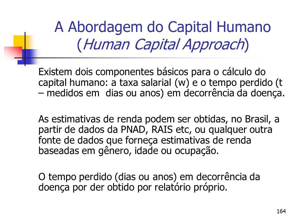 164 A Abordagem do Capital Humano (Human Capital Approach) Existem dois componentes básicos para o cálculo do capital humano: a taxa salarial (w) e o