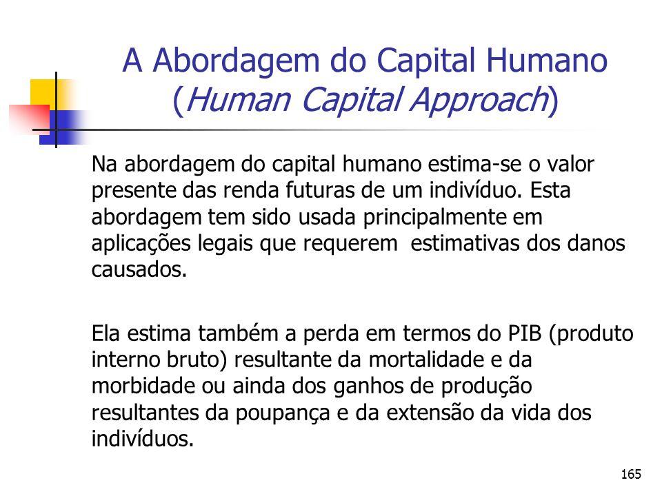 165 A Abordagem do Capital Humano (Human Capital Approach) Na abordagem do capital humano estima-se o valor presente das renda futuras de um indivíduo