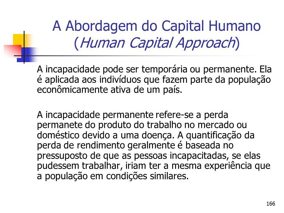 166 A Abordagem do Capital Humano (Human Capital Approach) A incapacidade pode ser temporária ou permanente. Ela é aplicada aos indivíduos que fazem p