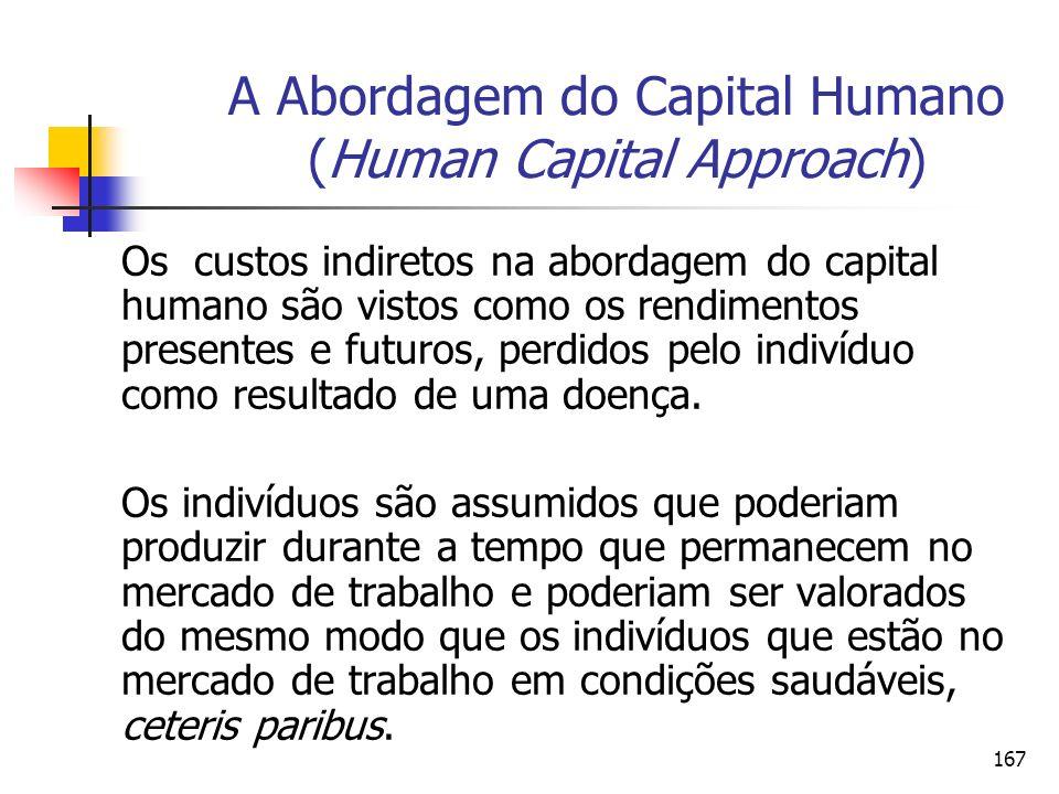 167 A Abordagem do Capital Humano (Human Capital Approach) Os custos indiretos na abordagem do capital humano são vistos como os rendimentos presentes
