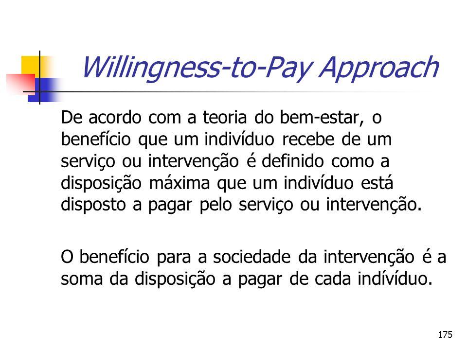 175 Willingness-to-Pay Approach De acordo com a teoria do bem-estar, o benefício que um indivíduo recebe de um serviço ou intervenção é definido como