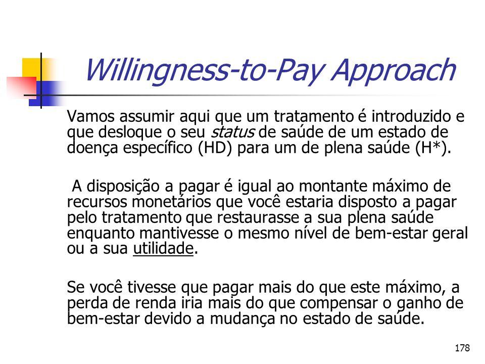 178 Willingness-to-Pay Approach Vamos assumir aqui que um tratamento é introduzido e que desloque o seu status de saúde de um estado de doença específ
