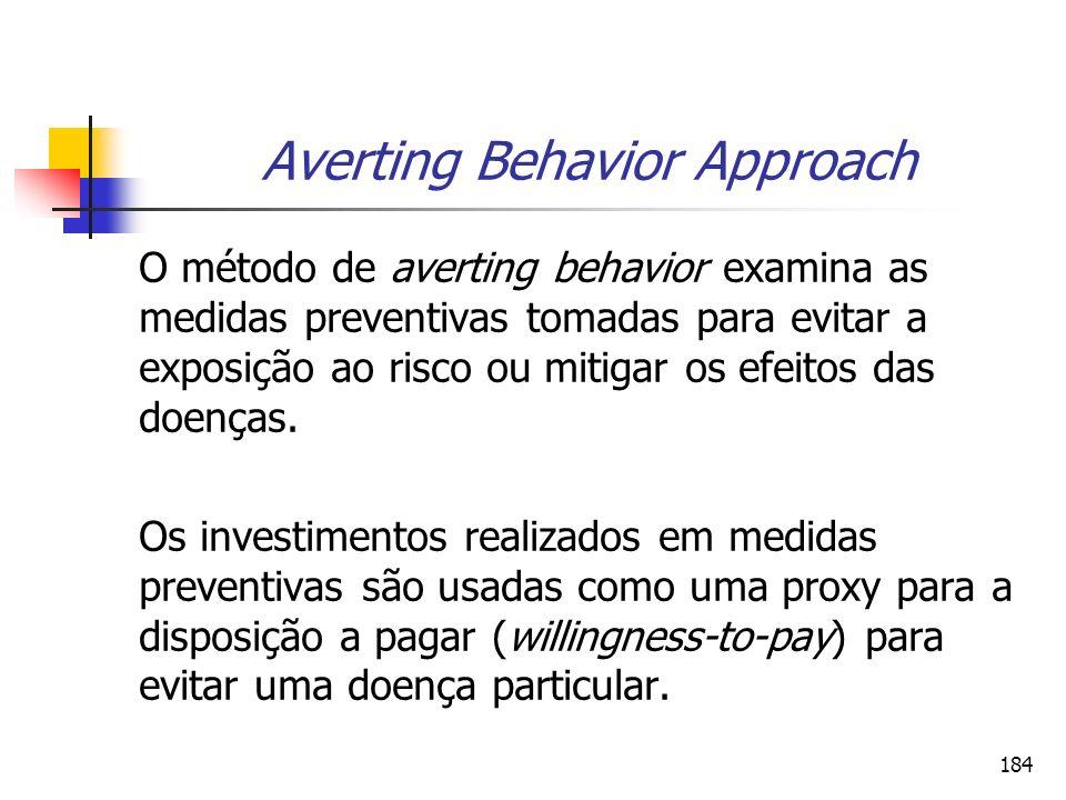 184 Averting Behavior Approach O método de averting behavior examina as medidas preventivas tomadas para evitar a exposição ao risco ou mitigar os efe