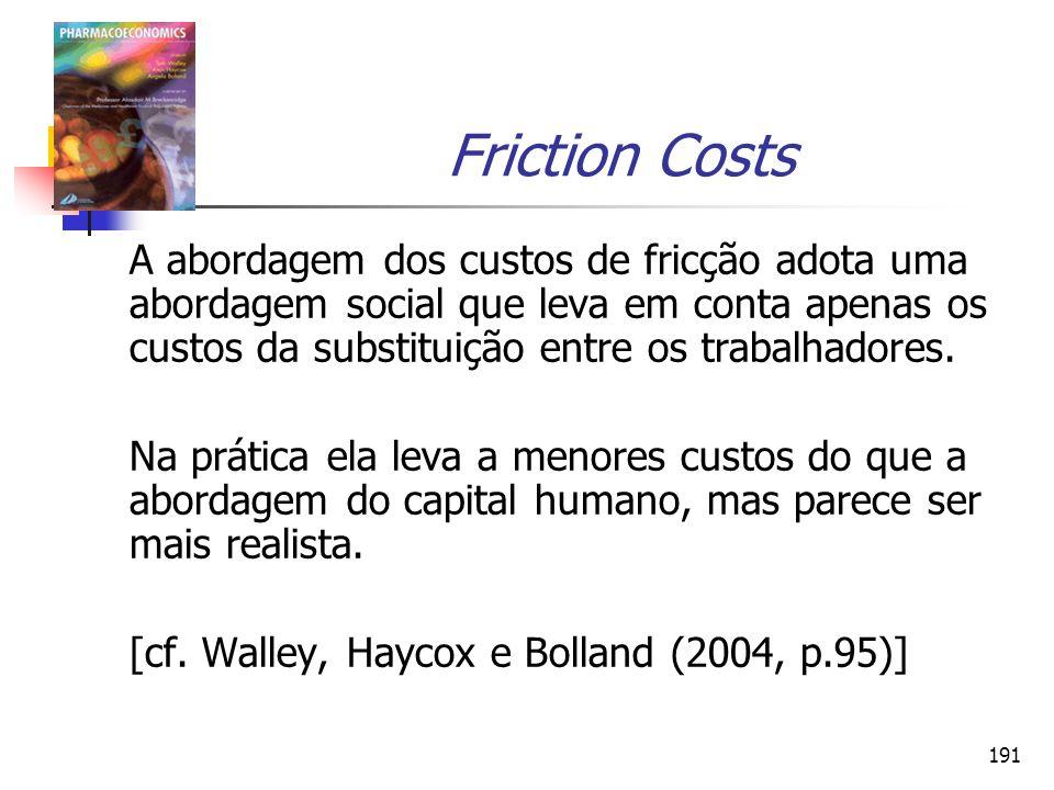 191 Friction Costs A abordagem dos custos de fricção adota uma abordagem social que leva em conta apenas os custos da substituição entre os trabalhado